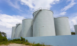 Storage tanks for petroleum products,Fuel oil tanker blue sky ba. Ckground Royalty Free Stock Image