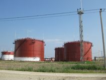 Storage tanks for petroleum products Royalty Free Stock Photos
