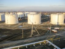 Storage tanks for petroleum products Royalty Free Stock Photography