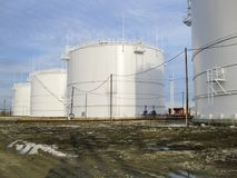 Storage tanks for petroleum products Stock Images