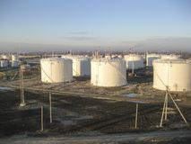 Storage tanks for petroleum products. Equipment refinery Royalty Free Stock Images