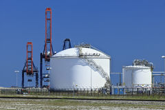 Storage tanks for raw materials for synthetic foam and plastics, Rotterdam, The Netherlands Royalty Free Stock Image
