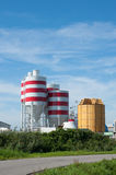 Storage tanks with red stripes Stock Image