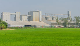 storage tanks in rice mill, factory process production line Stock Photography
