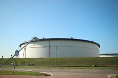 Storage tanks of TEAM terminal in the maasvlakte terminal in the harbor of Rotterdam in the Netherlands.  royalty free stock photo