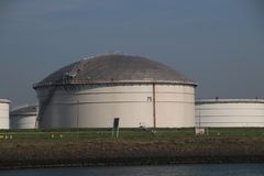 Storage tanks terminals in the Maasvlakte and Europoort harbor in the Port of Rotterdam in the Neherlands. Storage tanks terminals in the Maasvlakte and royalty free stock image