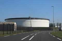 Storage tanks terminals  the Maasvlakte and Europoort harbor in the Port of Rotterdam in the Netherlands. Storage tanks terminals in the Maasvlakte and royalty free stock photography