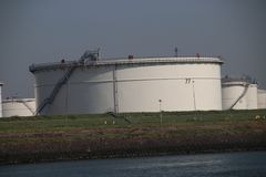 Storage tanks terminals in the Maasvlakte and Europoort harbor in the Port of Rotterdam in the Netherlands.. Storage tanks terminals in the Maasvlakte and stock image