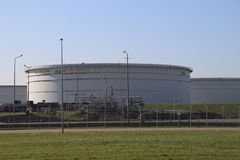 Storage tanks terminals in the Maasvlakte and Europoort harborhe Netherlands. Storage tanks terminals in the Maasvlakte and Europoort harbor in the Port of stock images