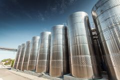 Storage tanks for wine Royalty Free Stock Images