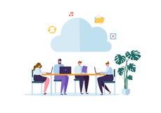 Storage technology de nuage Homme et femme travaillant ensemble partageant des dossiers de transfert des informations sur les don illustration libre de droits