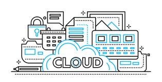 Storage technology de nuage - ligne plate bannière de site Web de conception illustration de vecteur