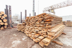 Storage timber crane. Lumber industry Royalty Free Stock Photography