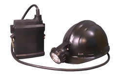 Storage Torch and Helmet for Miner and Lifeguards Royalty Free Stock Photo