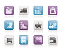 Storage, transportation, cargo and shipping icons Stock Images