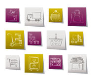 Storage, transportation, cargo and shipping icons. Vector icon set Stock Images