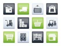 Storage, transportation, cargo and shipping icons over color background. Vector icon set royalty free illustration