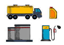 Storage, transportation and filling station. Oil industry storage, transportation and filling station icons  with tanks, pump, gasoline tank and oil canister Royalty Free Stock Photo
