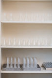 Storage unit with test tubes and beakers Royalty Free Stock Photography