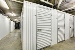 Storage units in the basement for apartment building Stock Photo