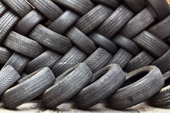Storage of used tires Stock Photo
