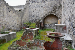 Storage Vessels and House, Herculaneum Archaeological Site, Campania, Italy Royalty Free Stock Images