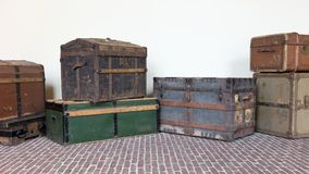 Storage of vintage suitcases. Different sizes and colors Stock Photography