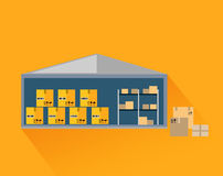 Storage Warehouse with Boxes in Cut Royalty Free Stock Photography