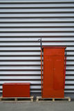 Storage warehouse containers. Outdoor red containers in industrial warehouse area Royalty Free Stock Photos