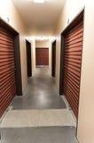 Storage warehouse hallway with doors Royalty Free Stock Photos