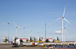 Storage for windmill components, Eemshaven, Holland Stock Photography