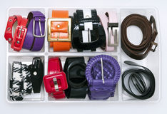 storage women belts stock photo