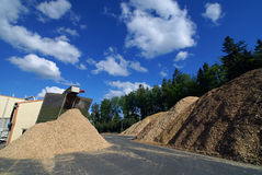 Storage of wooden fuel against blue sky Stock Images