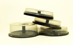 Storages with spindel for compact disc. small capasity boxes royalty free stock photos