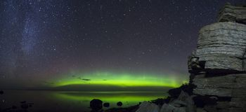 Storartad Aurora Borealis panorama Royaltyfria Bilder