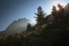 storartad dal corsica för inlands- restonica Arkivbilder