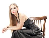 storartad fotokvinna för härligt hår Arkivfoton