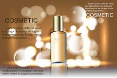 Storartad kosmetisk produktaffisch, guld- flaskpackedesign med fuktighetsbevarande hudkrämkräm eller flytande, mousserande bakgru Arkivfoton