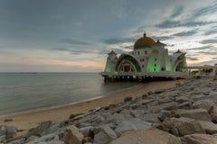 Storartad Masjid Silat moské under solnedgång Royaltyfri Fotografi