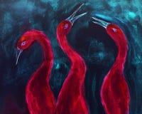 Storartad röd ibis på en blå bakgrund royaltyfri fotografi