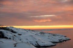 storartad solnedgång Arkivfoto