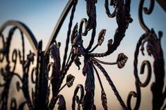 storartade smidesjärnportar, dekorativt smide, falsk eleme royaltyfri foto