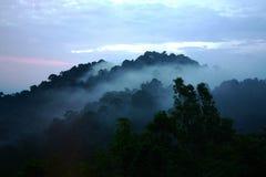 Storartat berg som omger med dimmig dimma i Malaysia Royaltyfri Bild