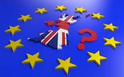 Storbritannien översikt med flaggan och EU-stjärnor royaltyfri illustrationer