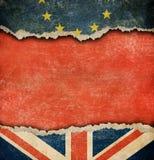Storbritannien och europeiskt brexitbegrepp för fackliga flaggor Arkivbilder