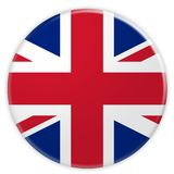 Storbritannien union Jack Flag Button, illustration 3d stock illustrationer