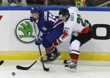 Storbritannien vs. för världsmästerskap för Ungern IIHF matt ishockey Arkivfoto