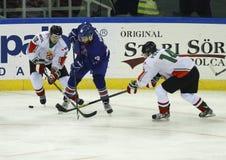 Storbritannien vs. för världsmästerskap för Ungern IIHF matt ishockey Royaltyfria Bilder