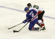 Storbritannien vs. för världsmästerskap för Ungern IIHF matt ishockey Royaltyfri Bild