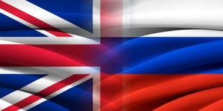 Storbritannien VS Ryssland Arkivfoton